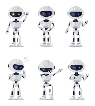 Six Pretty robots Isolated vector illustration 일러스트