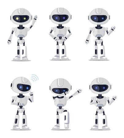 Six Pretty robots Isolated vector illustration Stock Illustratie