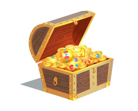 Ilustracja wektorowa piękna skrzynia skarbów