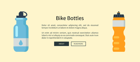 Bike Bottles Set Web Page Vector Illustration