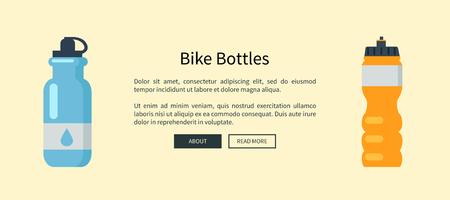 Bike Bottles Set Web Page Vector Illustration