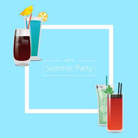 Summer Party Banner with Four Pretty Cocktails
