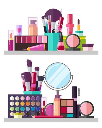 Make Up Big Collection Posters Vector Illustration Illustration