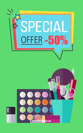 Special Offer for Decorative Cosmetics Poster 向量圖像