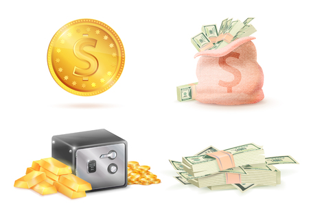 Golden Coin with Dollar Sign, Sack Full Money Safe Stock Vector - 96152136