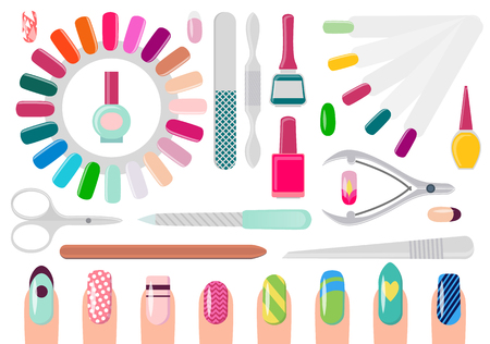 Manicure Service Equipment and Decorated Nails Illustration