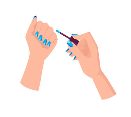 Light Blue Manicure with Triangles on Female Hands