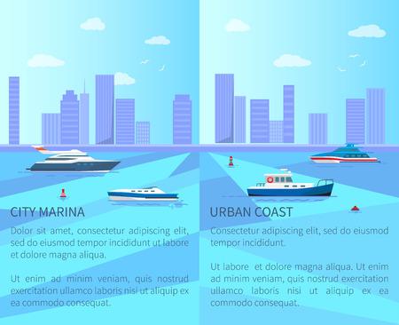 City Marina and Urban Coast Vector Illustration