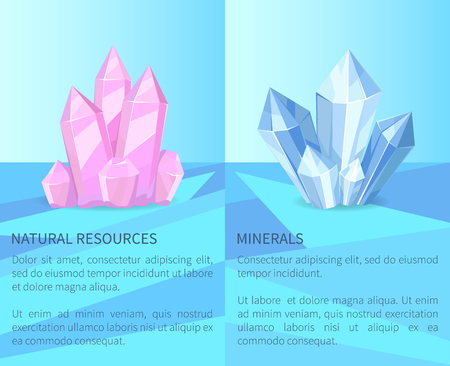 Natural Resources and Minerals Vector Illustration Çizim