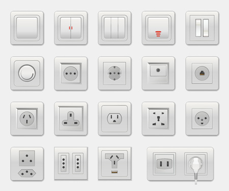 Set of Different Switches Vector Illustration Фото со стока - 96152146