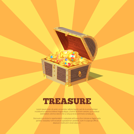 Treasure Poster with Chest Vector Illustration Çizim