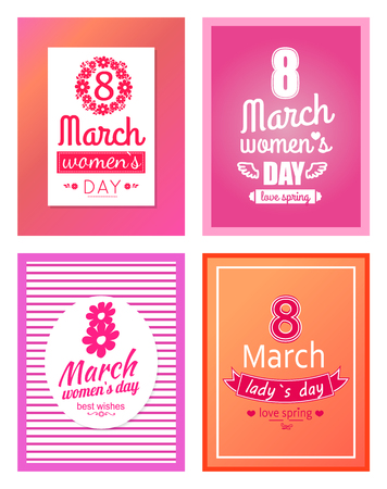 Set of posters dedicated to 8 March, best wishes on International Women s day vector illustration poster isolated greeting cards design collection