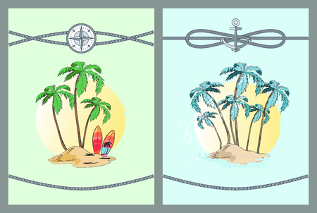 Framed Color Vector Illustrations with Palm Trees Illustration