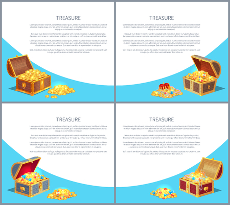 Treasure Posters Set, Gold Ancient Coins Chests Vector illustration. Illustration