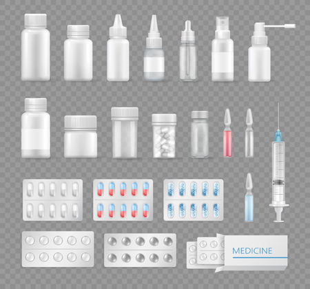 Medicines Empty Bottles and Clean Syringes Set Vectores