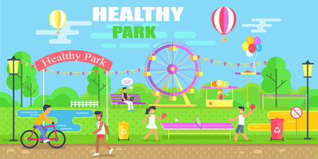 Healthy Park Happy Poster Vector Illustration