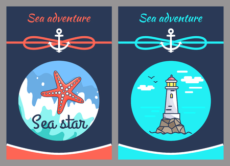 Sea Adventure and Star, Two Vector Illustrations Vettoriali