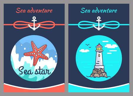 Sea Adventure and Star, Two Vector Illustrations Stock Illustratie