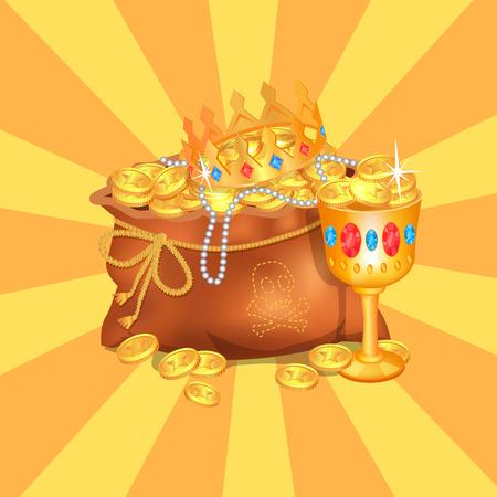 Mysterious Rreasure Hidden in Bag. Royal Crown