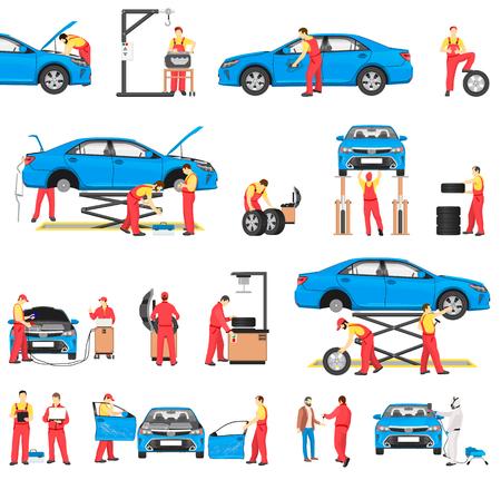 Service de réparation automobile avec des travailleurs professionnels Banque d'images - 96239534