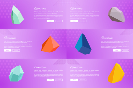 Set of Web Posters Gemstones Webpages Ppush Button