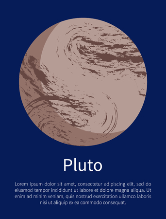 Pluto Planet Informative Poster with Sample Text Vettoriali