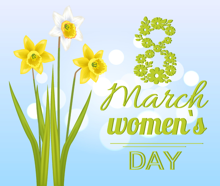 8 March Womens Day Poster with Realistic Daffodils