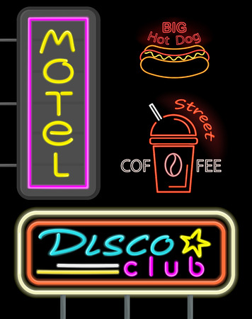 Motel and Disco Club Set Neon Vector Illustration