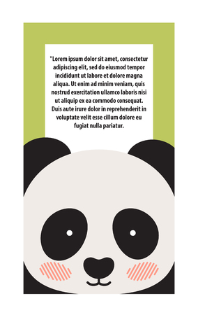 Panda Animal Cover and Text Vector Illustration