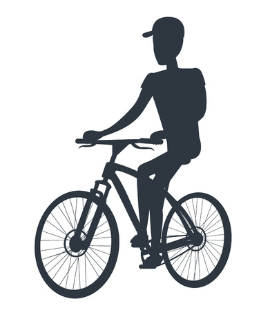 Athlete on Bicycle Black Silhouette Isolated White