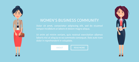 Women's Business Community design with 2 businesswomen  standing.