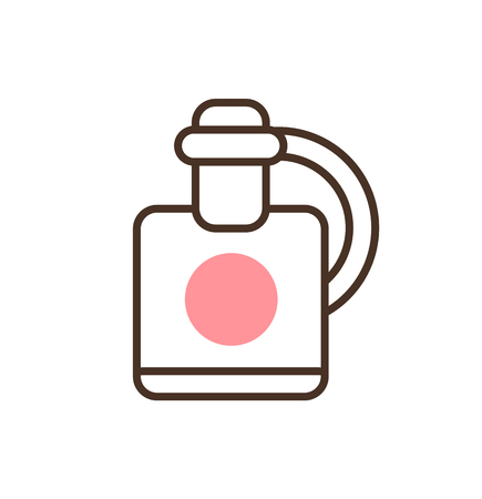 Cute bottle with pink circle design icon