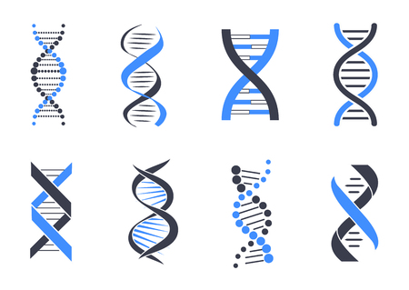 DNA helix pattern set Stock Illustratie