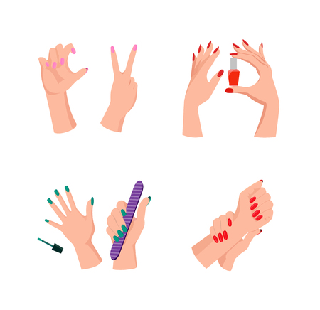 Hands with Painted Nails Vector Illustration