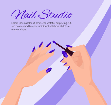 Nail Studio Promotional Poster with Female Hands