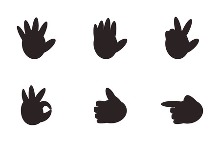 Set of hand gestures signs non verbal illustration