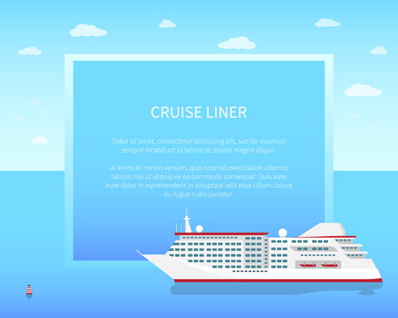 Cruise Liner Poster, Color Vector Illustration 版權商用圖片 - 96368144