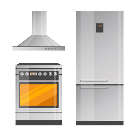 Oven and Refrigerator realistic illustration