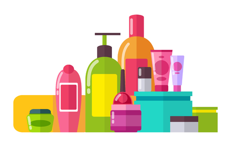 Tubes and Lotions Poster Set Vector Illustration