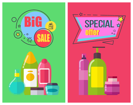 Big sale and special offer for toiletries promotional posters. Illustration