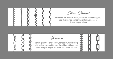 Silver Chains and Jewelry Poster Set Vector Illustration Иллюстрация