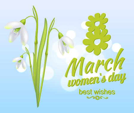 March 8 Women's Day Best Wishes Greeting Card Иллюстрация