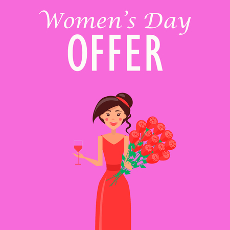Womens Day Offer Advertisement with Woman in Dress