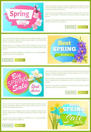 Best Spring Sale Web Sets Vector Illustration