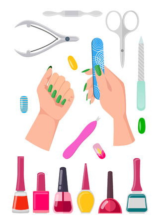 Nails Care Collection Banner Vector Illustration