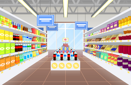 Supermarket and Product Poster Vector Illustraiton