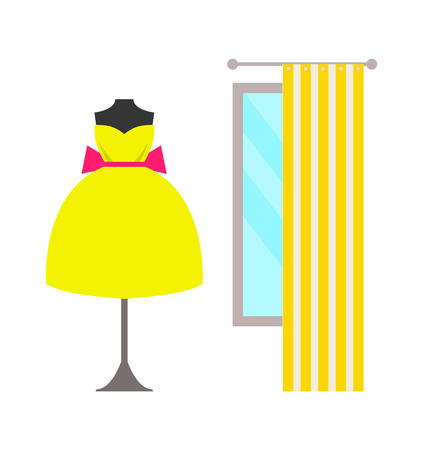 Mannequin in Lush Dress with Bow Near Large Window Illustration