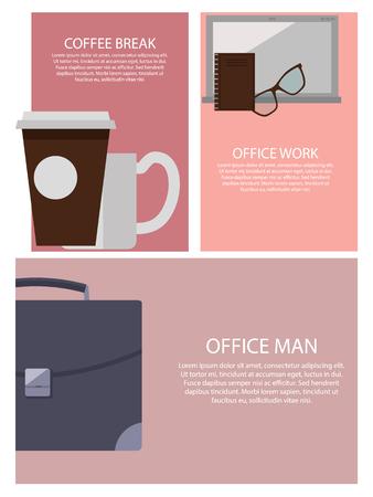 Coffee Break and Office Work Vector Illustration Illustration