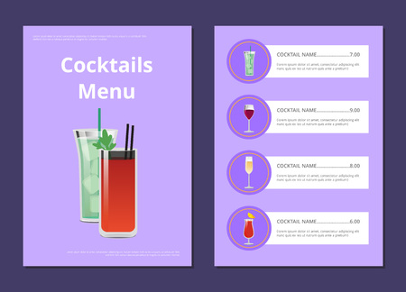Two Cocktails Menu Banners Vector Illustration