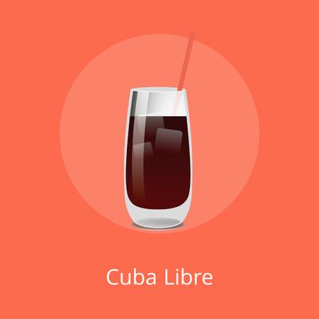 Cuba Libre Cocktail Template Vector Illustration